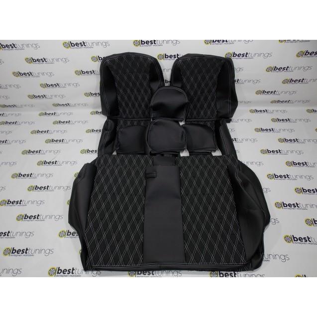 Чехлы на  сиденья ВАЗ 2107 (кожа+ткань)