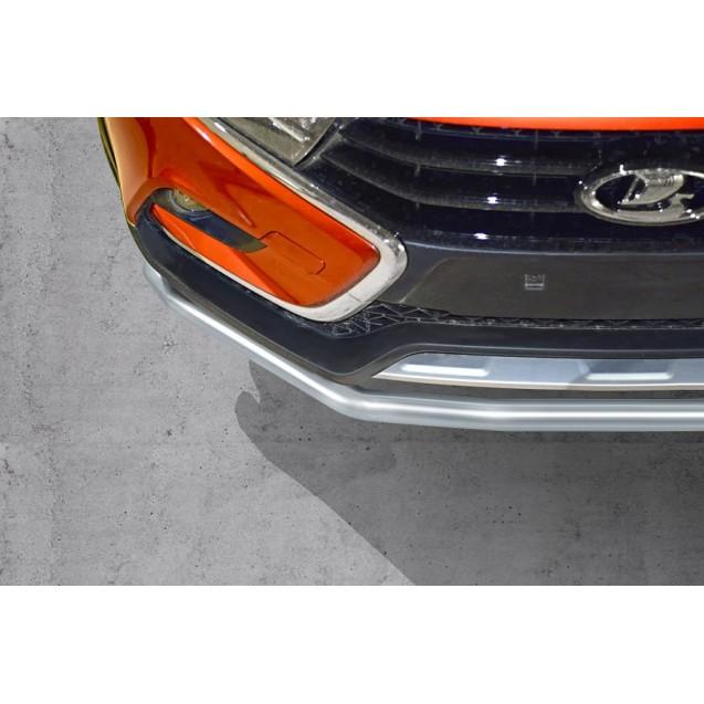 Защита переднего бампера одинарная 51 мм, нержавеющая полированная сталь , Vesta SW Cross 2017- (01410101)