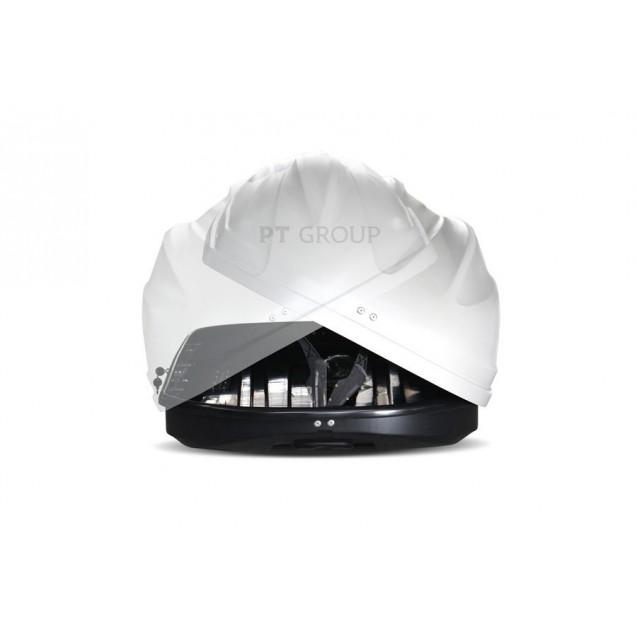 Бокс-багажник на крышу Аэродинамический Белый «Turino Sport» ДВУСТОРОННЕЕ открывание