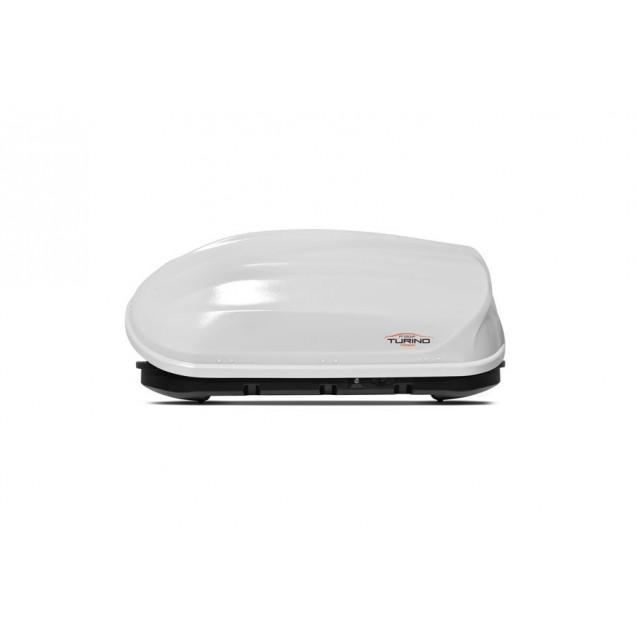 Бокс-багажник на крышу Аэродинамический Белый «Turino Compact» ДВУСТОРОННЕЕ открывание