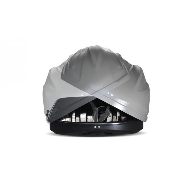Бокс-багажник на крышу Аэродинамический Серый «Turino Sport» ДВУСТОРОННЕЕ открывание
