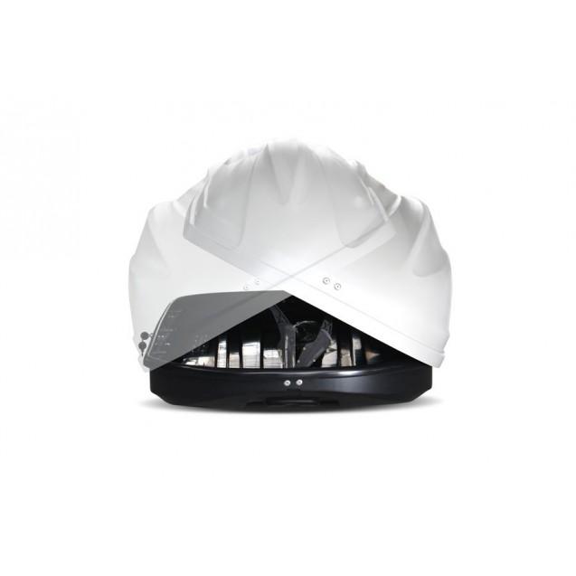 Бокс-багажник на крышу Аэродинамический Белый «Turino 1» ДВУСТОРОННЕЕ открывание