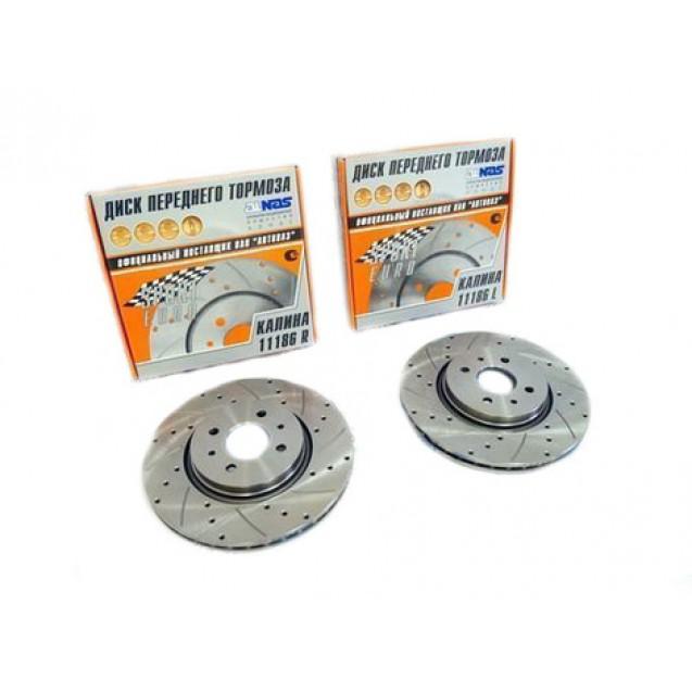 Тормозные диски ALNAS с перфорацией и насечками 11186 R