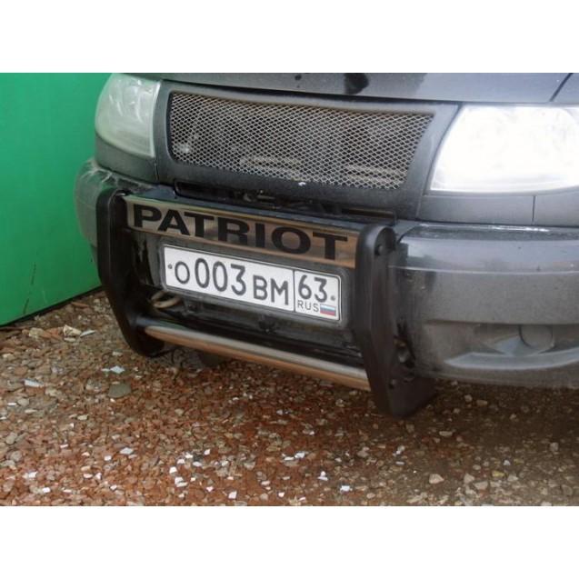 Защита переднего бампера mini на УАЗ Patriot