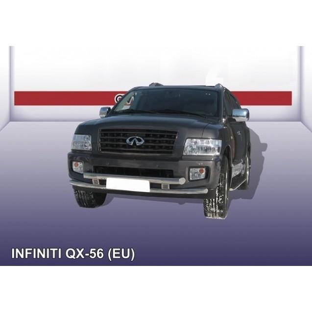 Защита переднего бампера двойная ф76+ф57 QX56