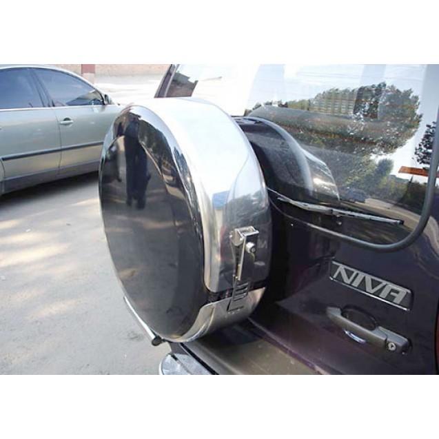 Бокс запасного колеса (нерж. с замком) ВАЗ 2123